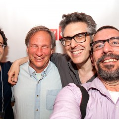 Jad Abumrad, Robert Krulwich, Ira Glass and Matthew Septimus at BAM after the performance of Radiolab Live.