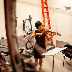 Jennifer Koh before performing excerpts from Einstein on the Beach at the Greene Space.