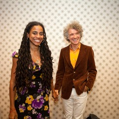 Suzan-Lori Parks and Dan Zane backstage at the Greene Space.