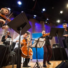 Brooklyn Rider and DJ Spooky perform Beethoven Remixed at the Greene Space.